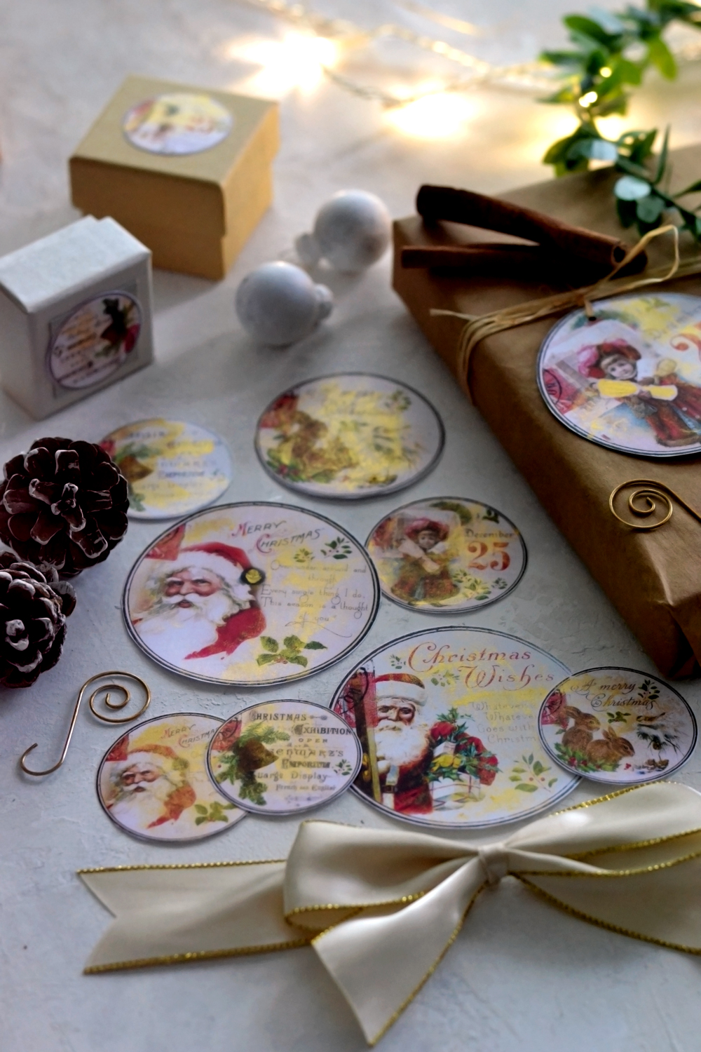 DIY Vintage Gold Christmas gift tags - free printable