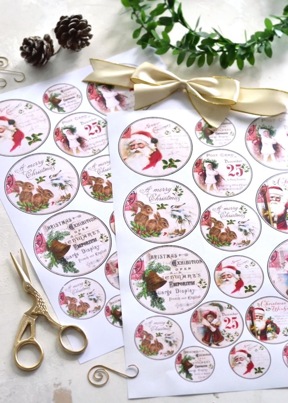 DIY Vintage Gold Christmas gift tags - free printable