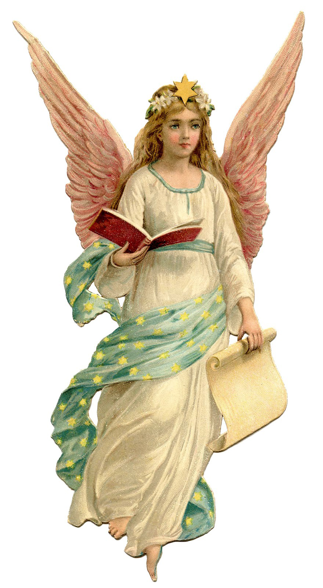 angel christmas pink wings fairy graphics victorian moon cloud she