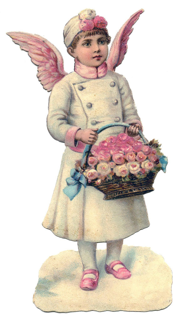 Angel with Pink Wings and White Coat Basket of Flowers