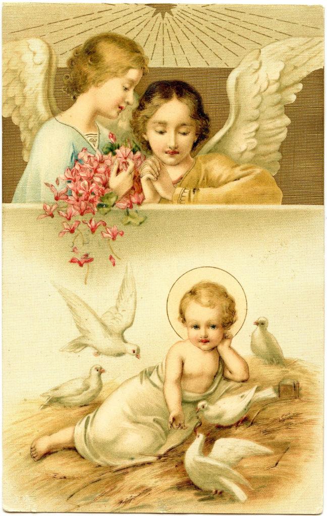 Baby Jesus Angels Vintage Image