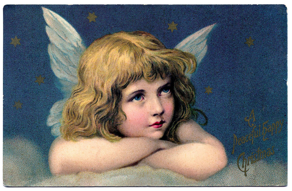 Vintage Christmas Angel on Cloud Postcard