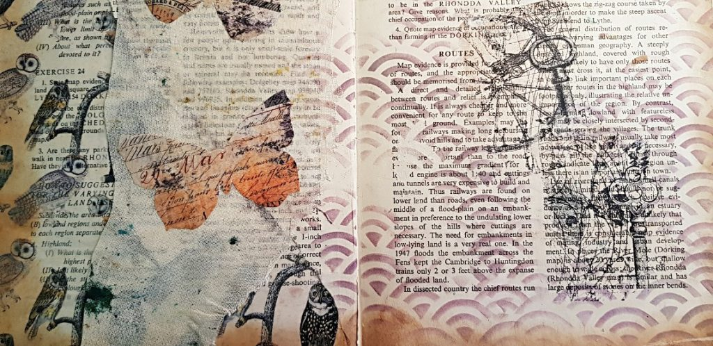 Detail of Junk Journal Spread with Image Transfer