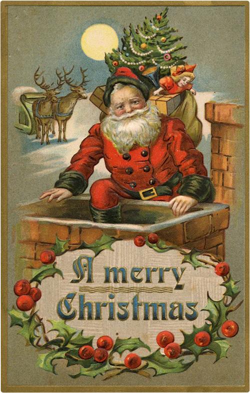 Old Santa Chimney Clipart