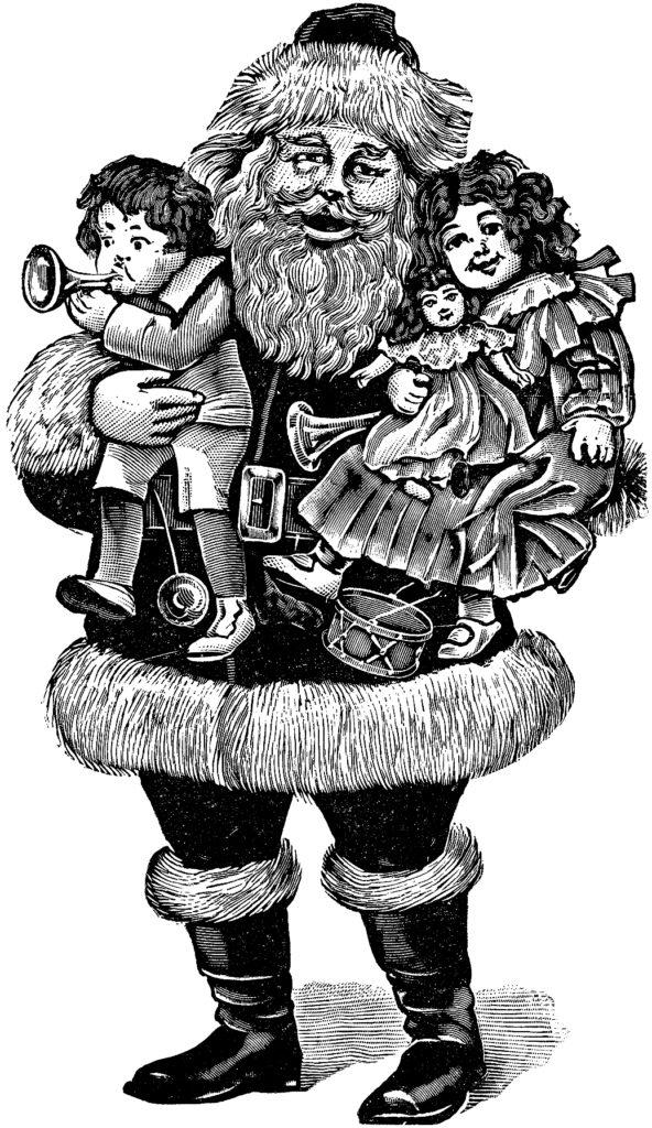 Old World Santa Illustration with Dolls