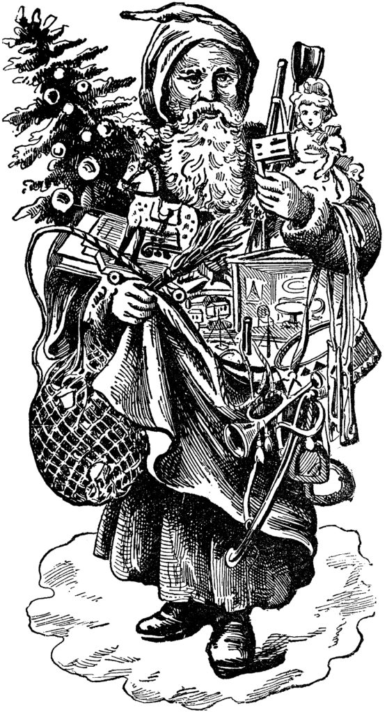6 Santa Illustrations Black And White The Graphics Fairy