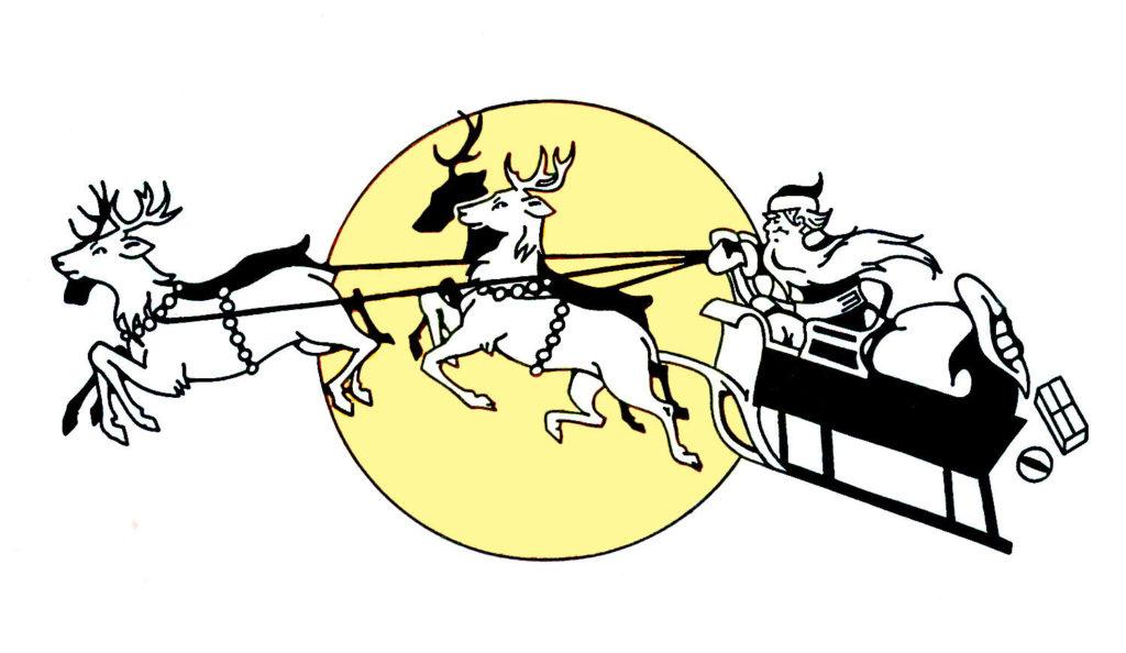 Santa Sleigh Clipart with Reindeer