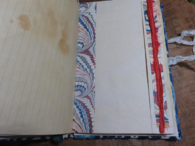 Sari ribbon and dyed Seam Binding for Junk Journal embellishment