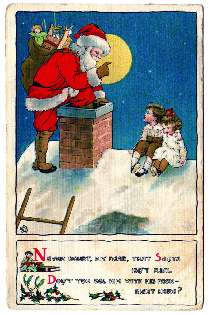 Vintage Santa in Chimney Image
