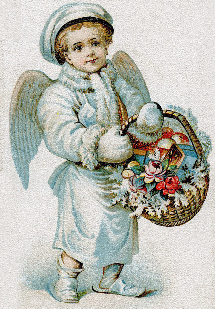 Christmas Angel Boy Basket Flowers