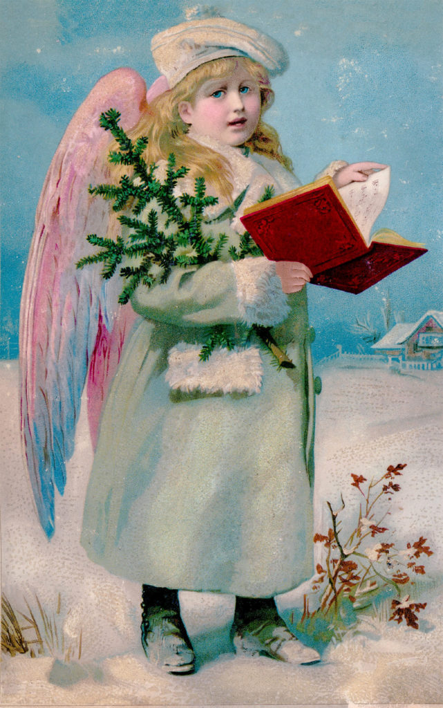 Angel with Book and Christmas Tree