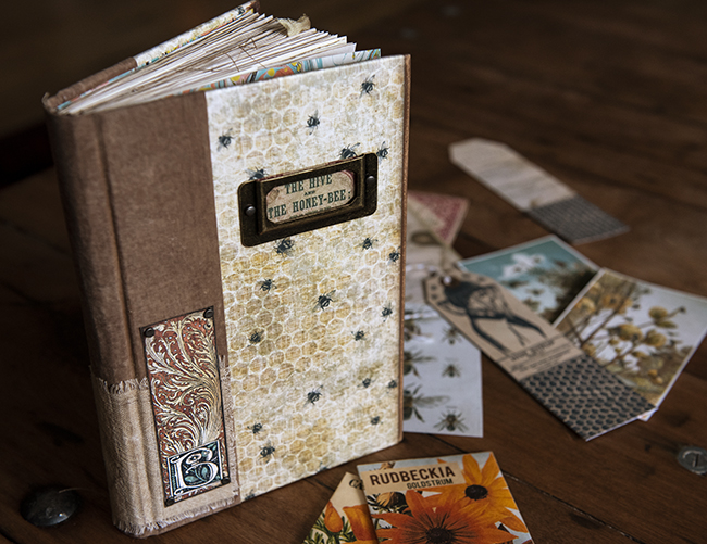 Bee Junk Journal Cover Standing