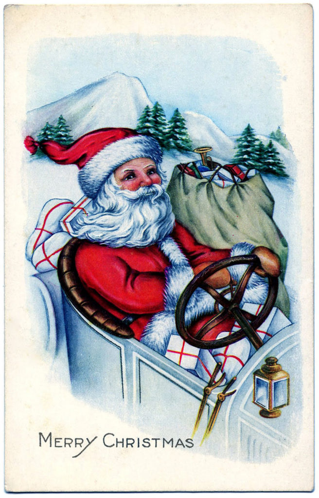 Santa Driving Old Car Image