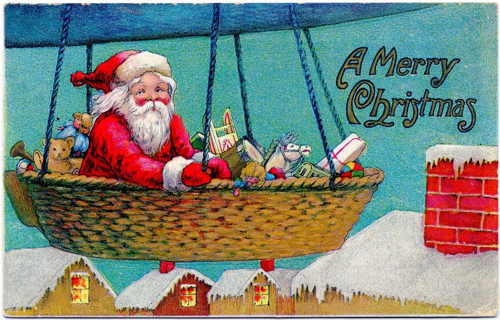 Santa Airship Clip Art