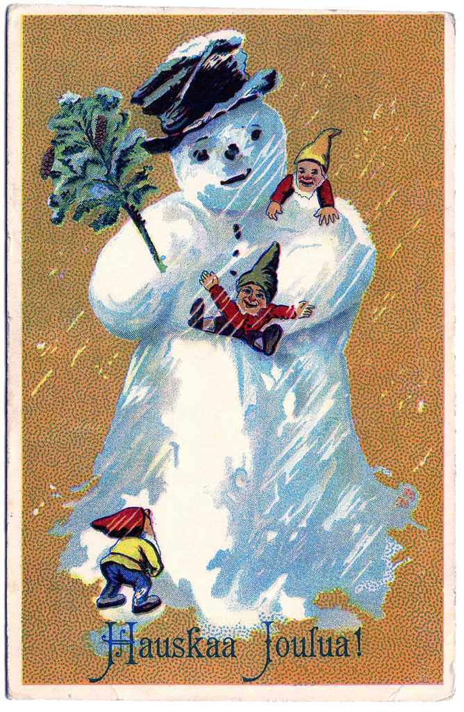 Snowman with Gnomes clipart image