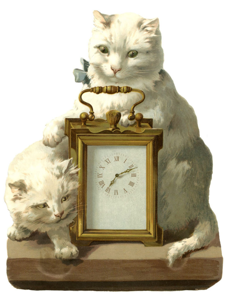 Cats with Clock Vintage Scrap Picture