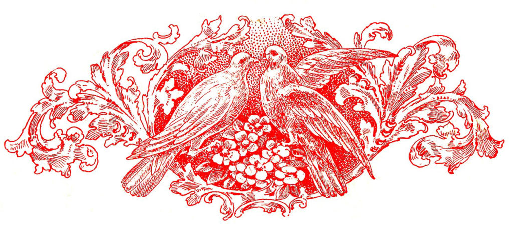 Doves Valentines Clip Art Red