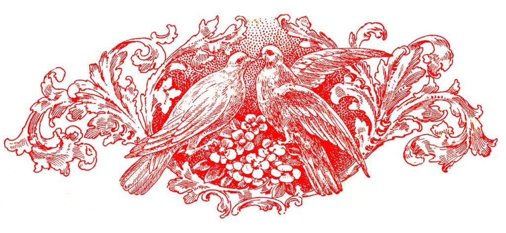 Doves Valentines Clip Art Red