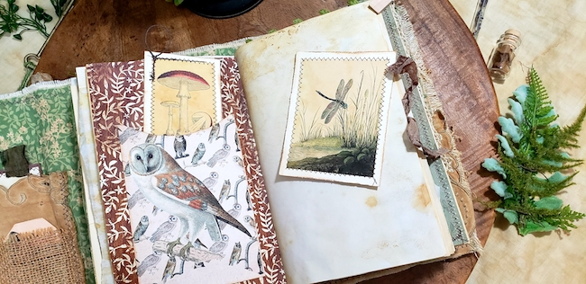 Owl Dragonfly Softcover Forest Junk Journal