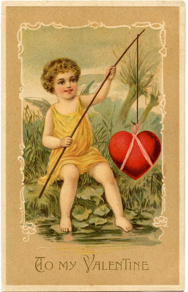 Valentine Cherub Heart Fishing Image