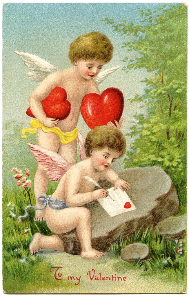 Valentine Cherubs with Puffy Hearts