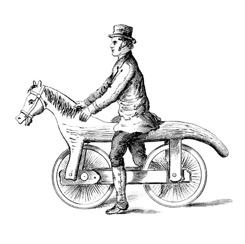 Horse Bicycle with Man