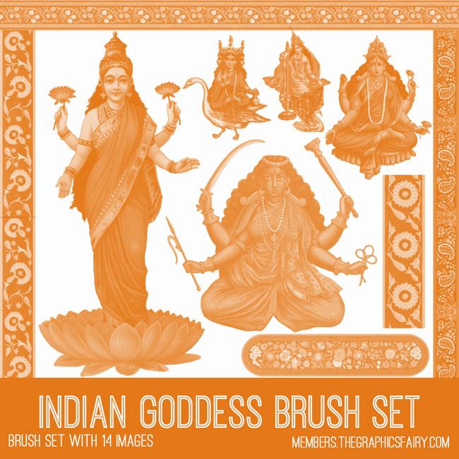 Indian Goddess Photoshop Brush Set