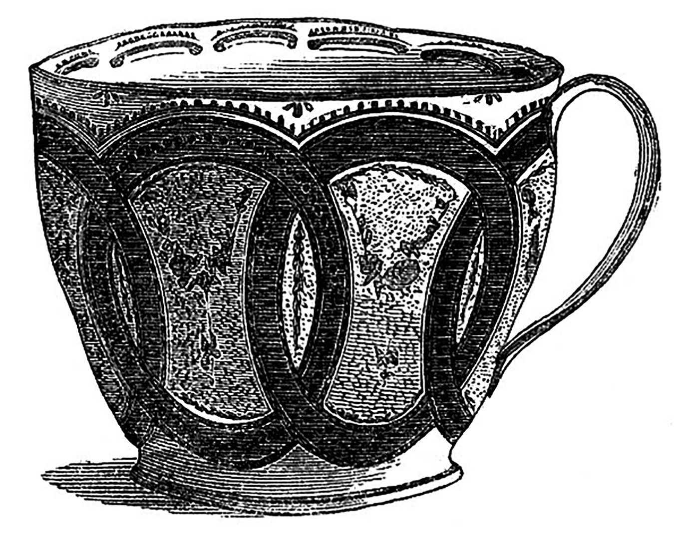 Black and White Teacup Interlocking CIrcles Picture