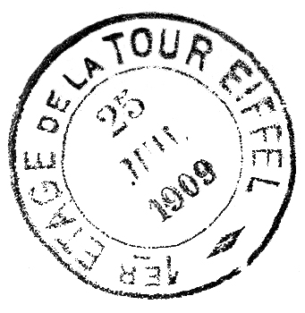 Eiffel Tower 1909 Postmark
