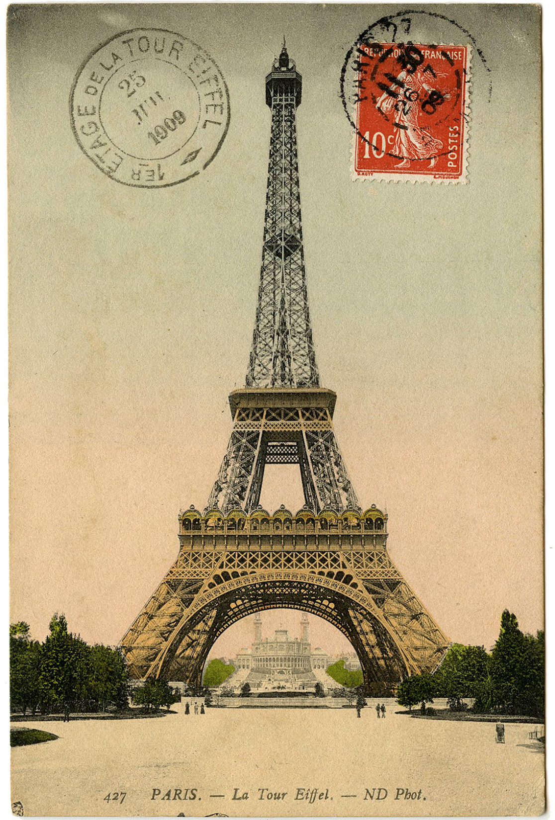 Eiffel Tower Postmarked Postcard