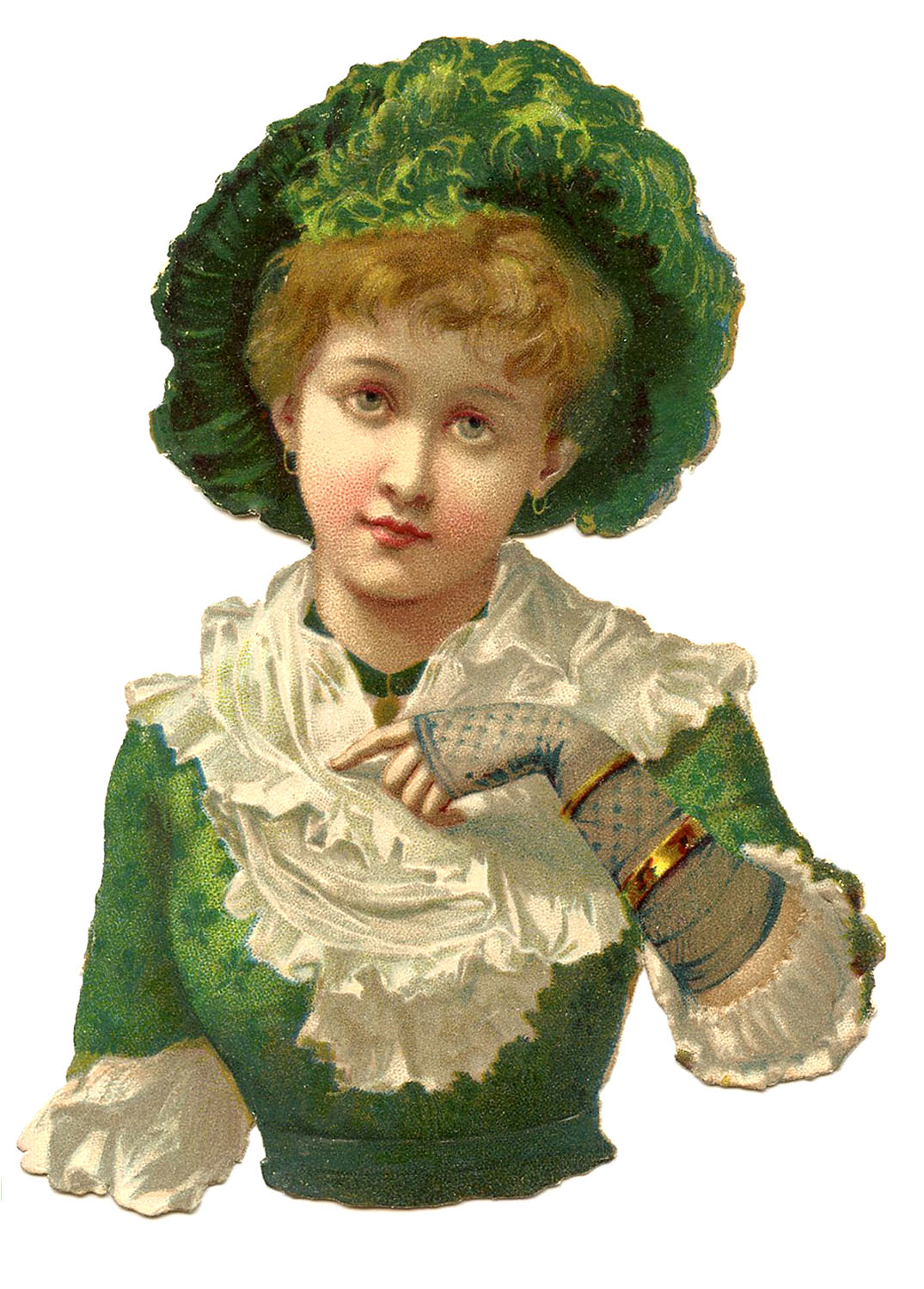 Green Hat Glove Victorian Lady