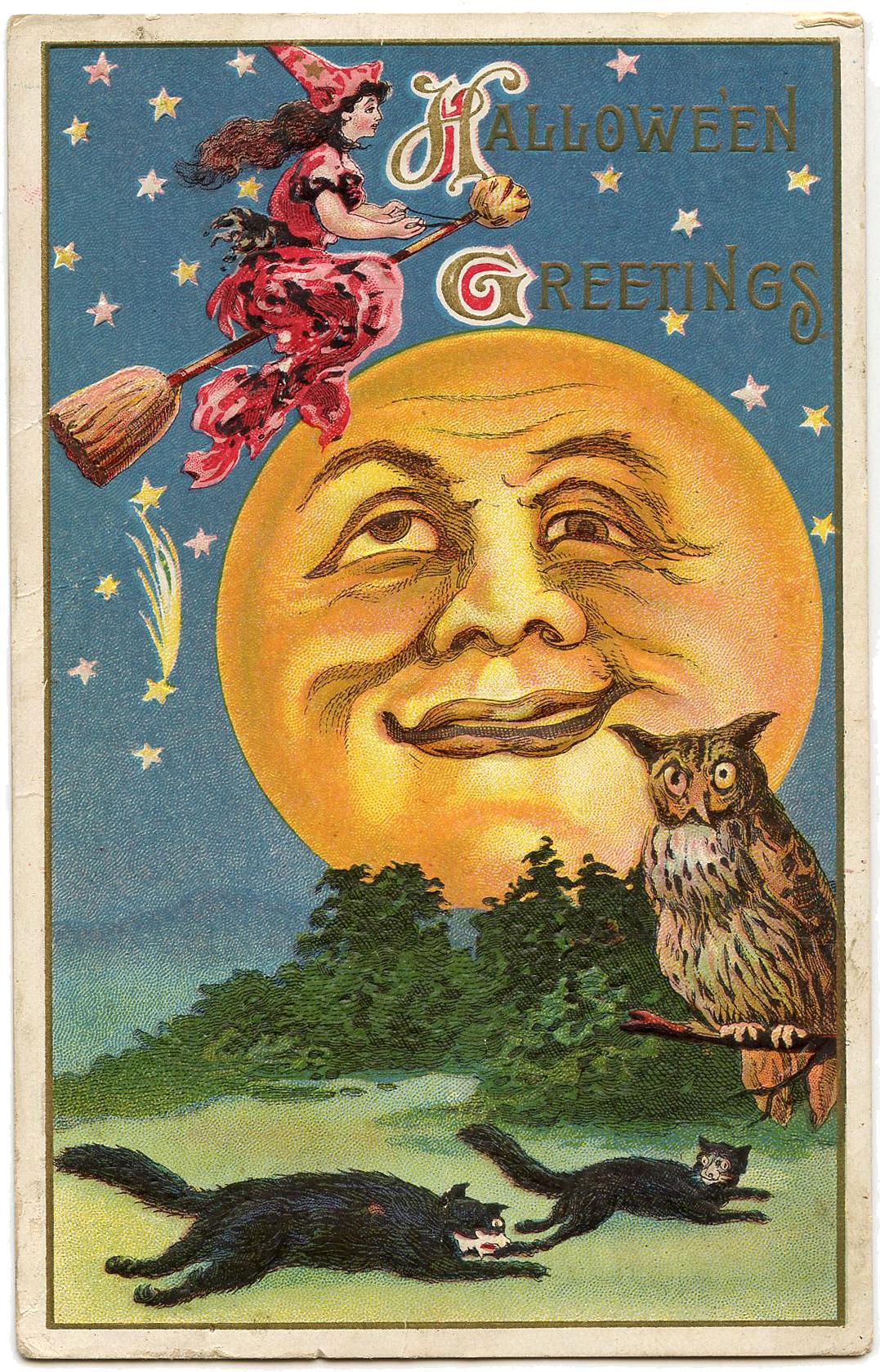 Halloween Witch Moon Man Image