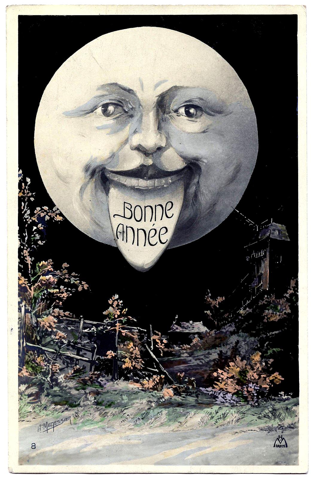 Vintage Moon Clipart Moon Man Postcard Bonne Année