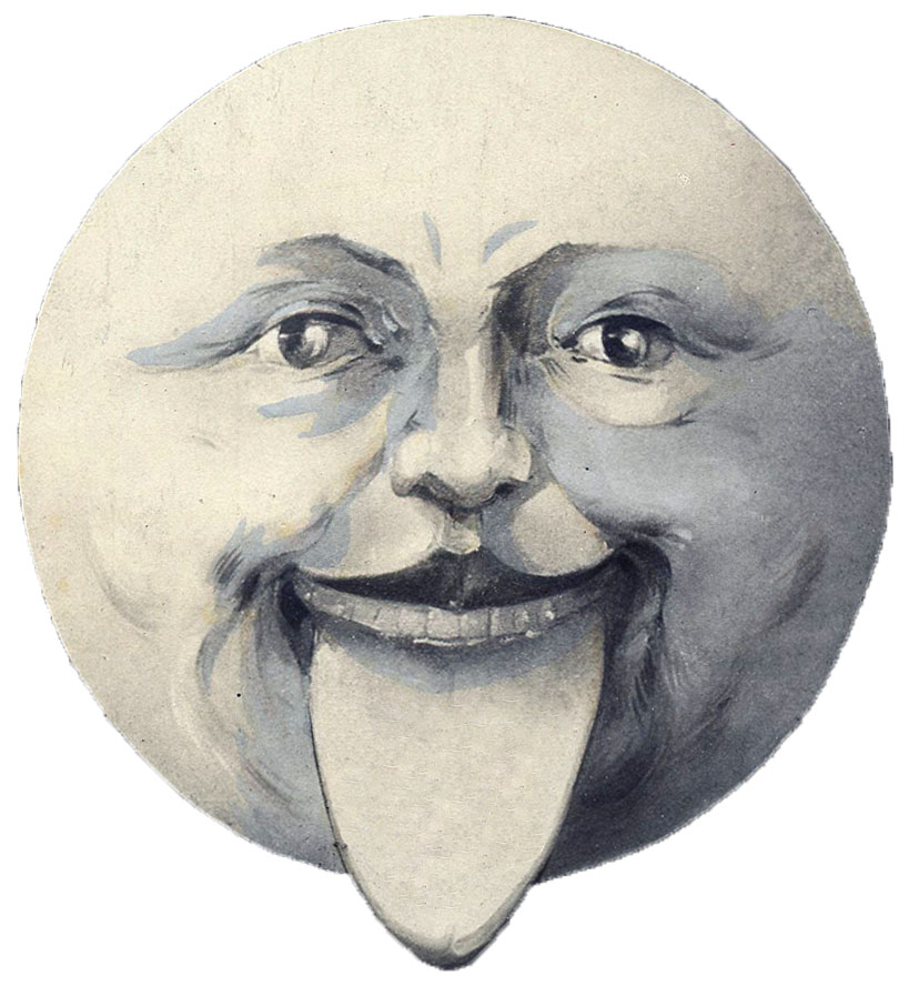 Man in Moon Tongue Sticking Out Vintage Moon Clipart