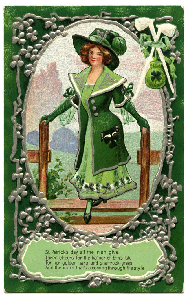 St Patricks Day Girl Vintage Image