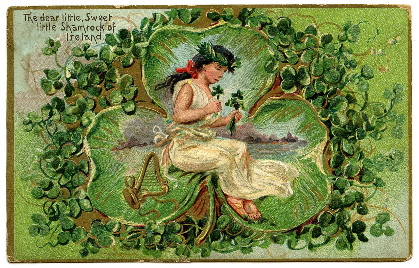Sweet Shamrocks of Ireland Vintage Postcard Image