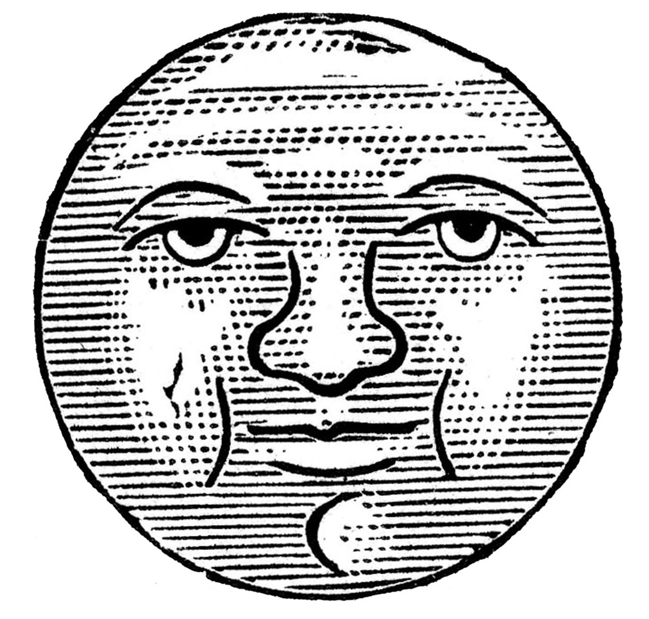 Vintage Man in Moon Clipart Graphic