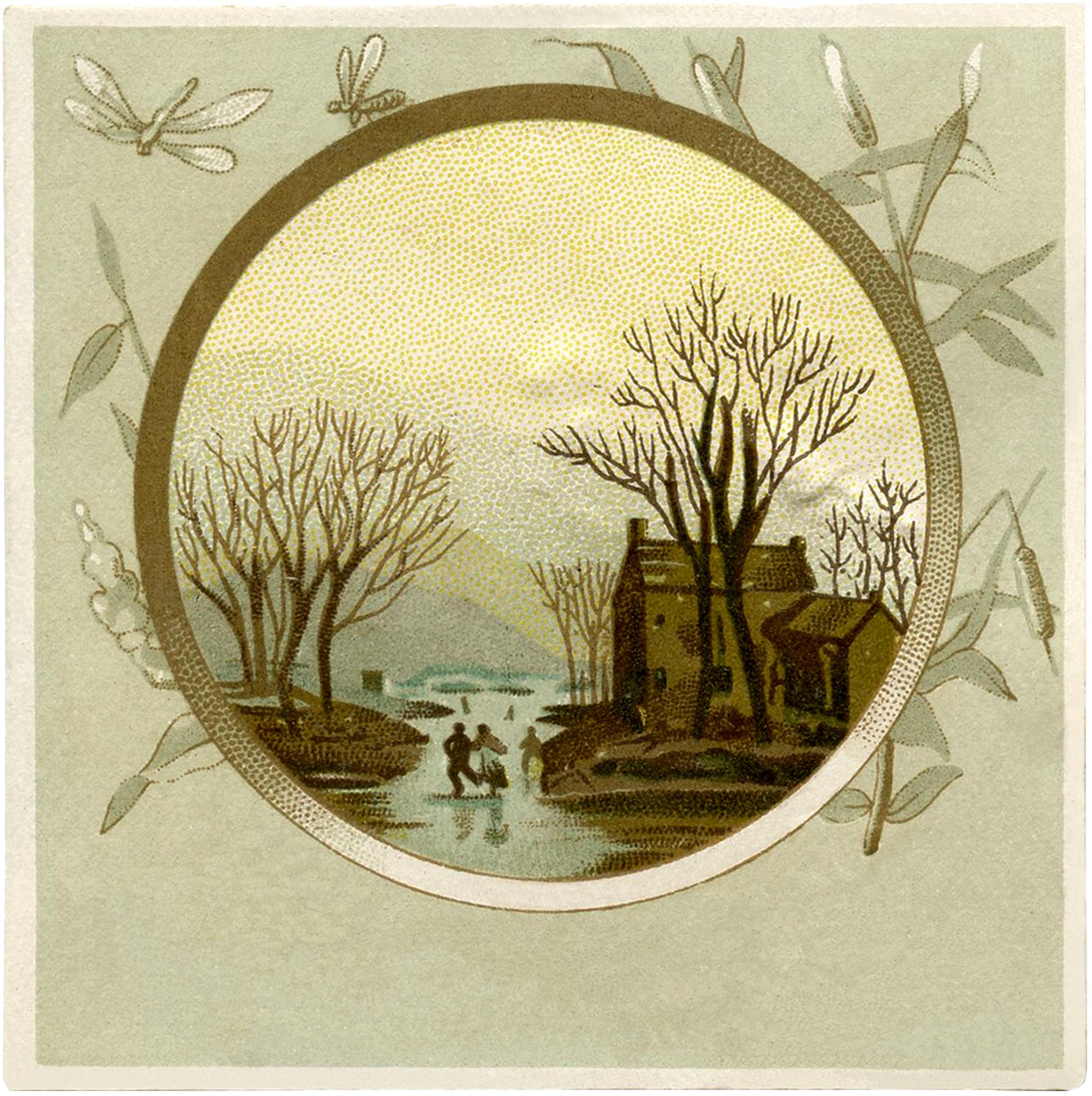 Vintage Winter Landscape Square Image