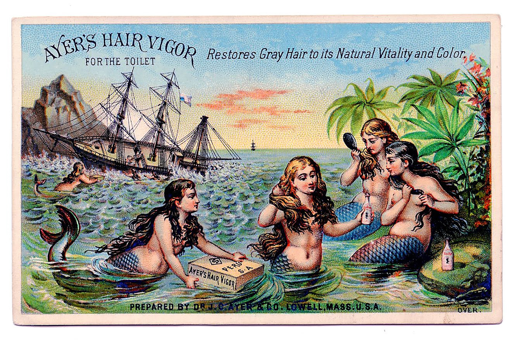 Mermaids with Ship Trade Card Image