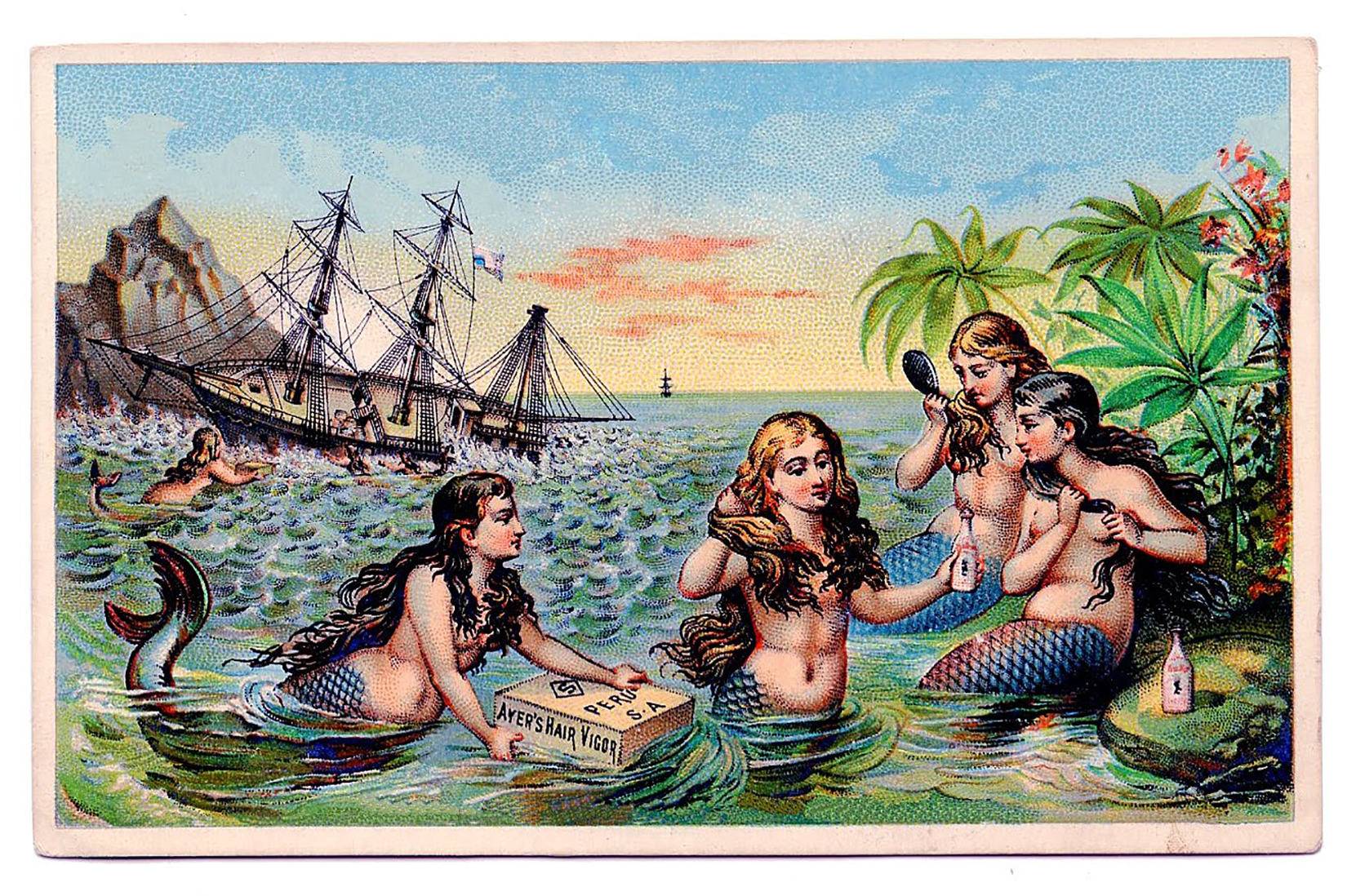Mermaids Swimming with Ship