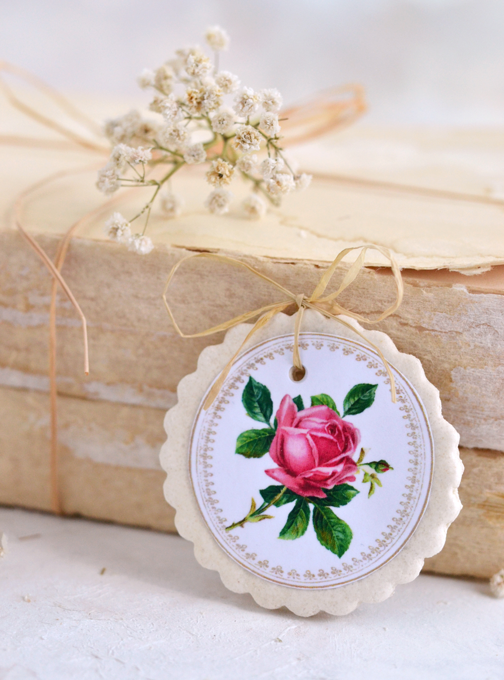 Salt Dough Rose Tags