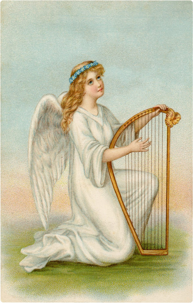 Pretty Easter Angel Image with Harp