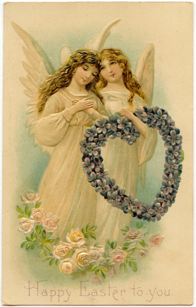 Easter Angels with Floral Wreath