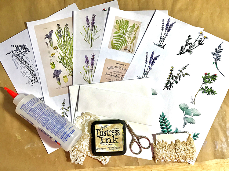 Herb Tea Gift Card Supplies