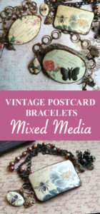 Vintage Postcard Mixed Media Bracelets Pin
