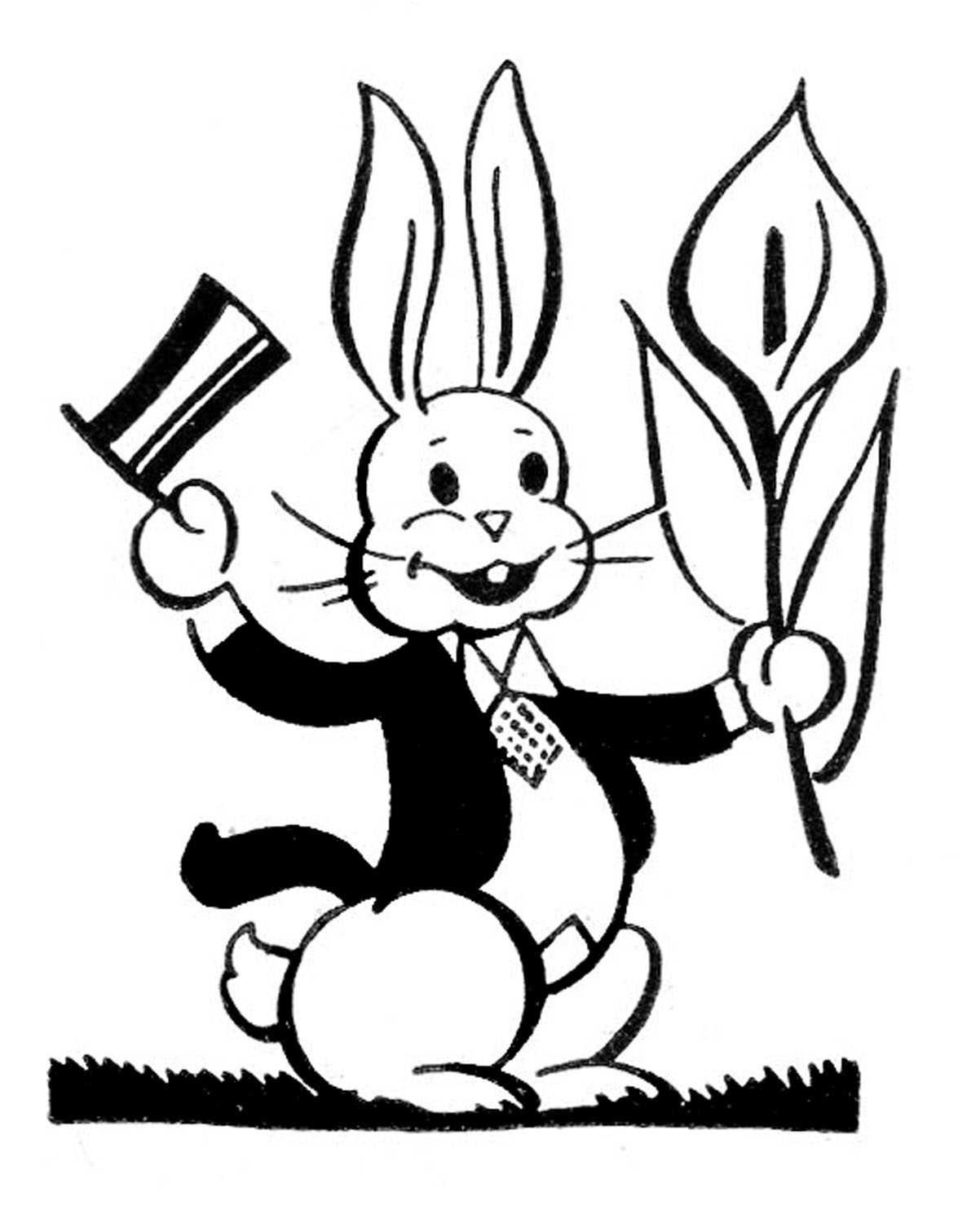 Animal Lineart Clipart of a Cartoon Black and White Cute ... |Cute Rabbit Clipart Black And White