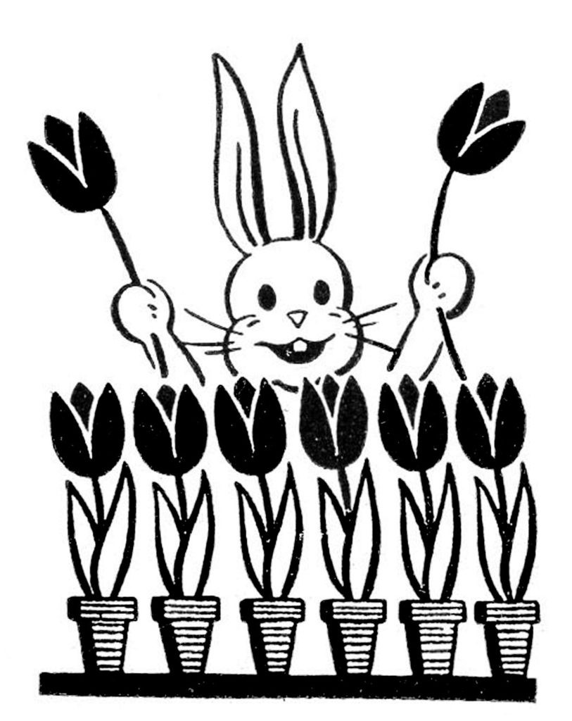 Retro Easter Bunny with Tulips