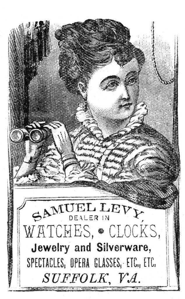 Lady with Binoculars Ad Text
