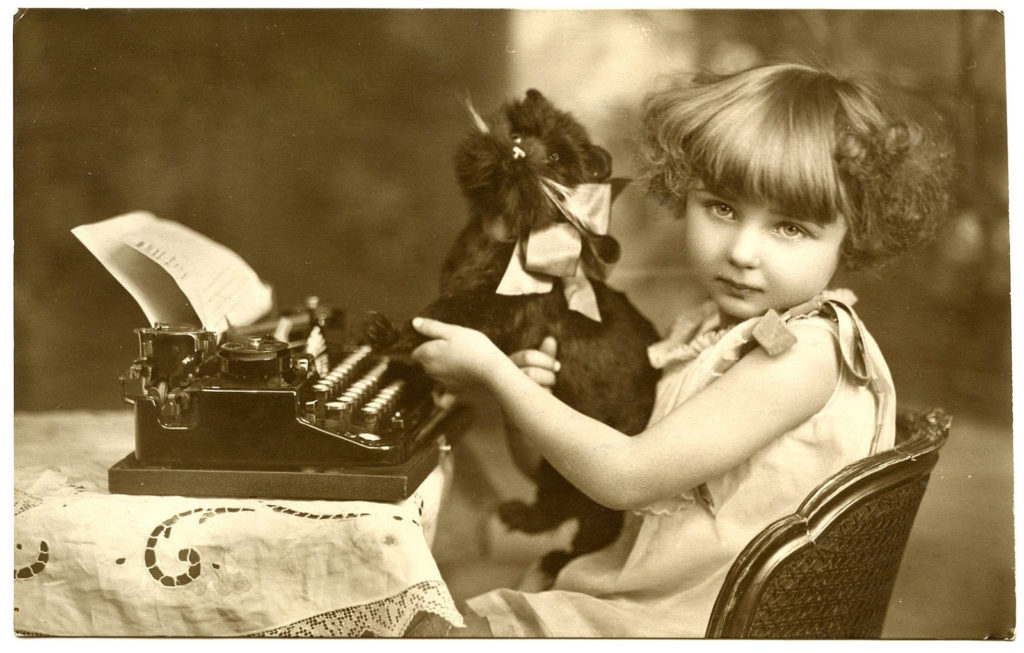 Vintage Photo Typewriter Girl