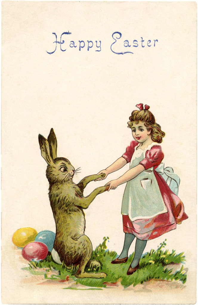 Vintage Easter Bunny with Child Dancing